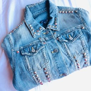 Gap Distressed studded jean jacket